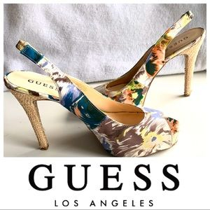 GUESS Floral High Heel SHOES Women's Sandals